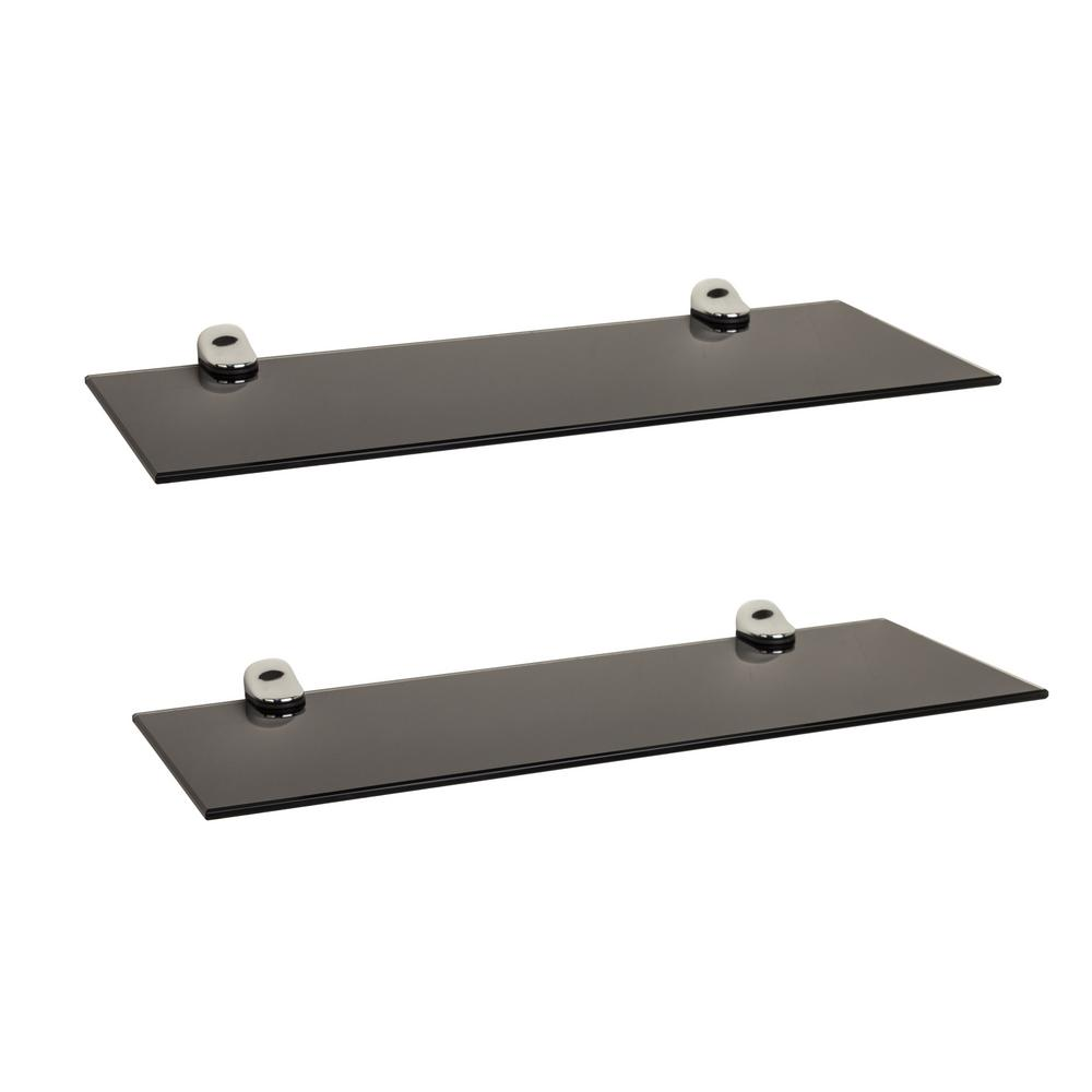 danya b pristine 16 in w x 2 in h black smoke glass floating rh homedepot com chrome floating wall shelves Floating Shelves Ideas