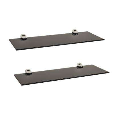 Pristine 16 in. W x 2 in. H. Black Smoke Glass Floating Shelves with Chrome Brackets (Set of 2)