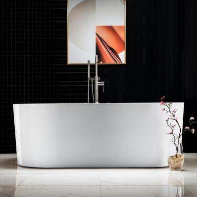 Bologna 67 in. Acrylic Freestanding Whirlpool and Air Bathtub with Drain and Overflow Included in White