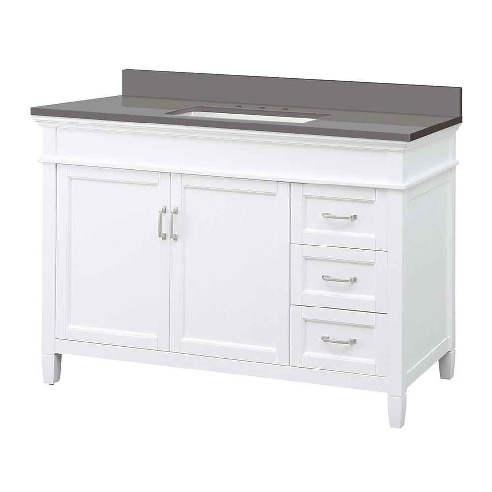 Foremost Ashburn 49 in. W x 22 in. D Vanity Cabinet in White with Engineered Marble Vanity Top in Slate Grey with White Basin