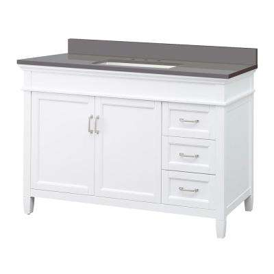 Ashburn 49 in. W x 22 in. D Vanity Cabinet in White with Engineered Marble Vanity Top in Slate Grey with White Basin