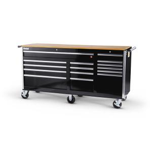 International Tech Series 75 inch 15-Drawer Roller Cabinet Tool Chest with Wood Top in Black by International