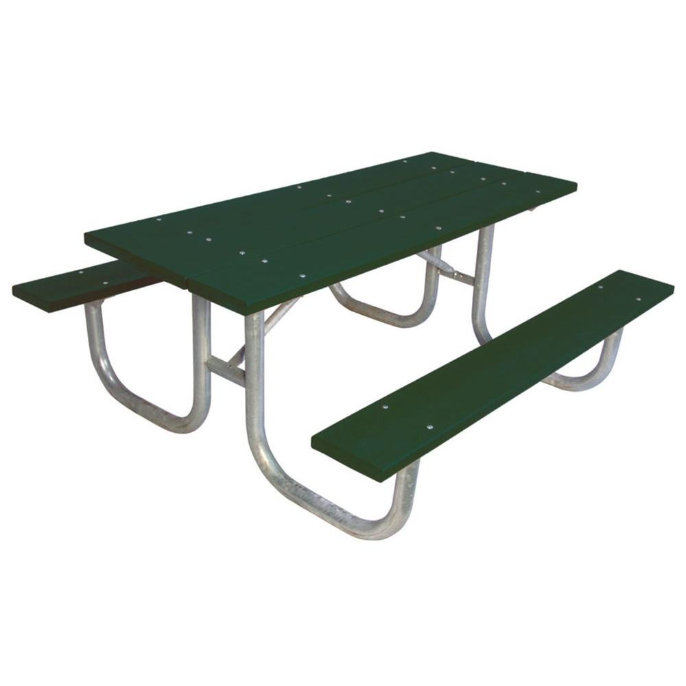 Ultra Play 6 ft. Green Commercial Park Recycled Plastic Portable Table and Surface Mount
