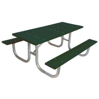 6 ft. Green Commercial Park Recycled Plastic Portable Table and Surface Mount