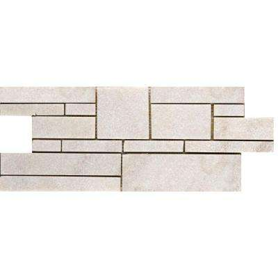White Borgo 6-3/4 in. x 17-1/2 in. Quartzite Slate Mesh-Mounted Floor and Wall Tile