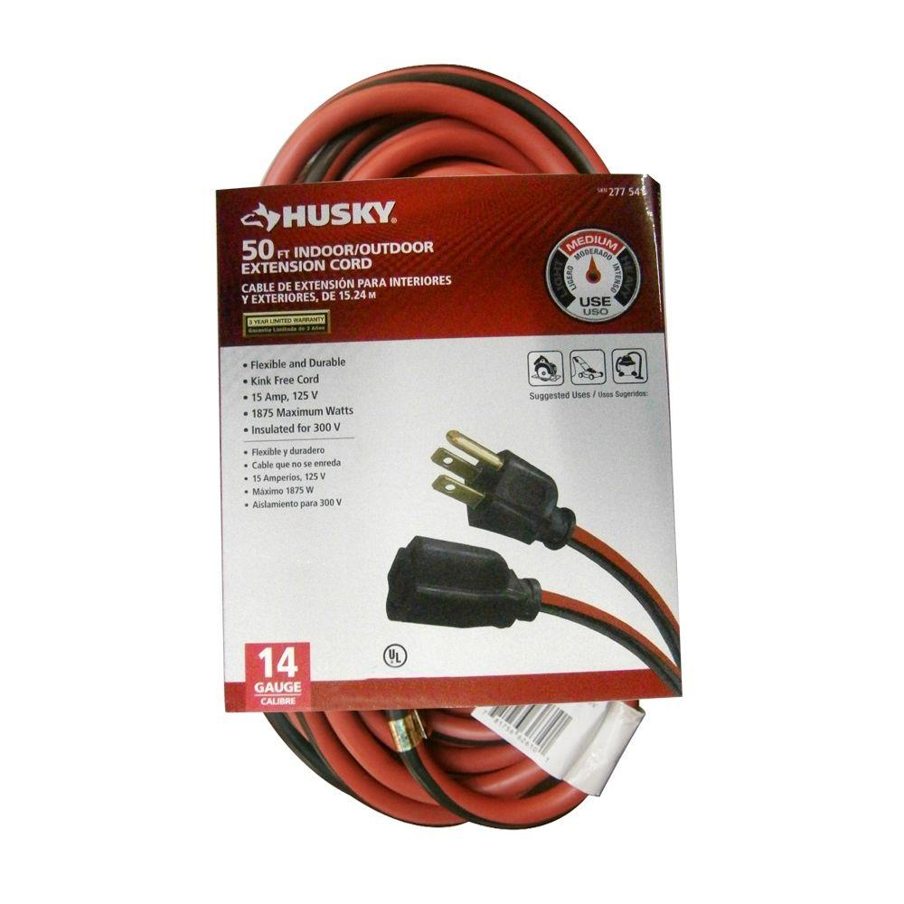 Husky 50 Ft 14 3 Indoor Outdoor Extension Cord Red And Black
