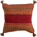 Ganale Red Striped Polyester 18 in. x 18 in. Throw Pillow