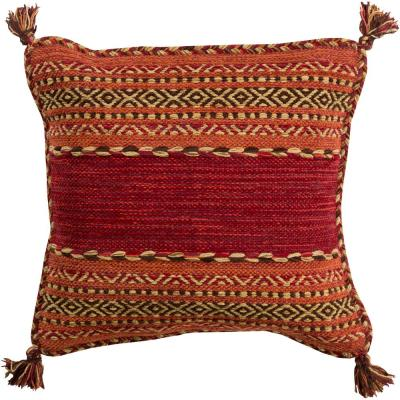 Ganale Red Striped Polyester 20 in. x 20 in. Throw Pillow