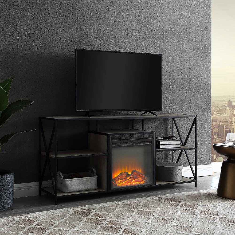 "60"" X-Frame Open Shelf Fireplace - Grey Wash"