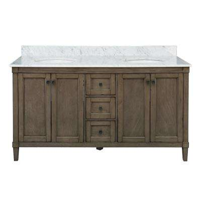 Rosecliff 61 in. W x 22 in. D Vanity in Distressed Grey with Carrara Marble Vanity Top in White with White Sink