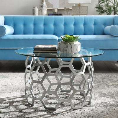 Shaffer Silver Coffee Table with Glass Top