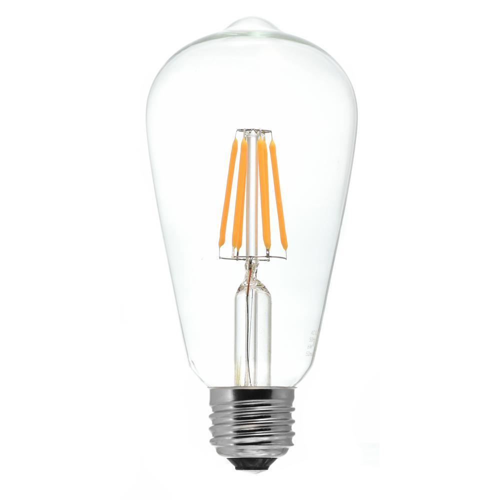 50-Watt Equivalent ST20 Medium Base Dimmable Clear LED Light Bulb Antique White