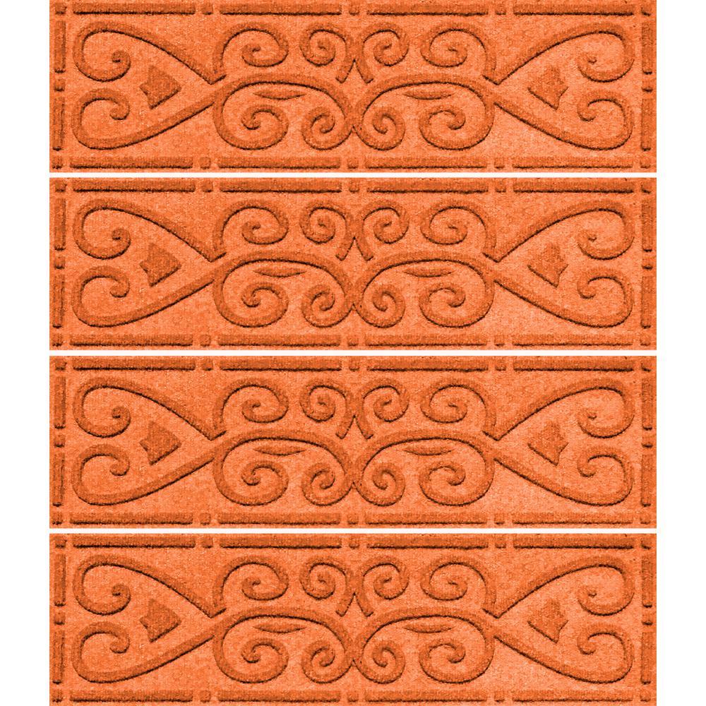 Orange 8.5 in. x 30 in. Scroll Stair Tread (Set of 4)