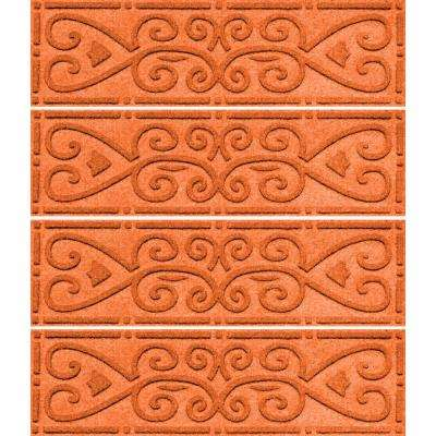 Orange 8.5 in. x 30 in. Scroll Stair Tread Cover (Set of 4)
