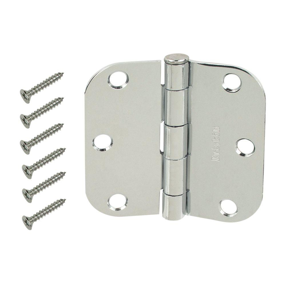 Everbilt 3-1/2 in. 5/8 in. Radius Chrome Hinge -  20284