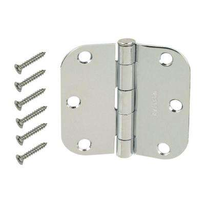 3-1/2 in. Chrome 5/8 in. Radius Door Hinge