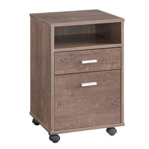 Benjara Wooden File Cabinet with Casters and 3 Drawers Brown