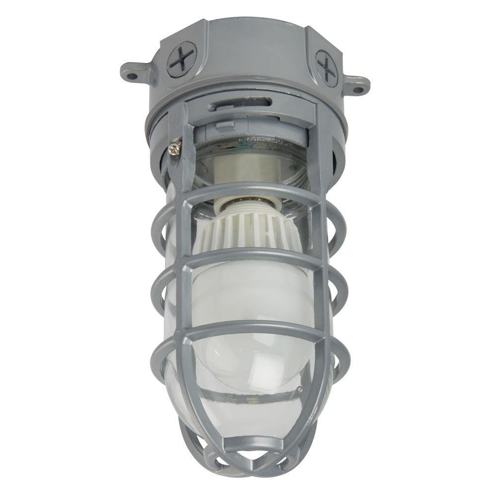 Lithonia Lighting 1-Light Grey Outdoor LED Ceiling/Hanging Vapor Light