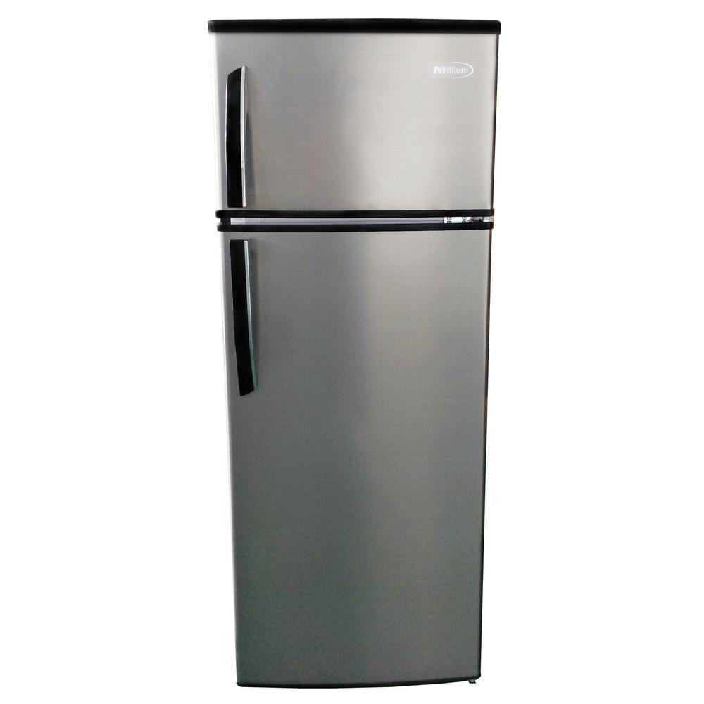 Premium 7 4 Cu Ft Top Freezer Refrigerator In Silver Counter Depth Prf736hs The Home Depot