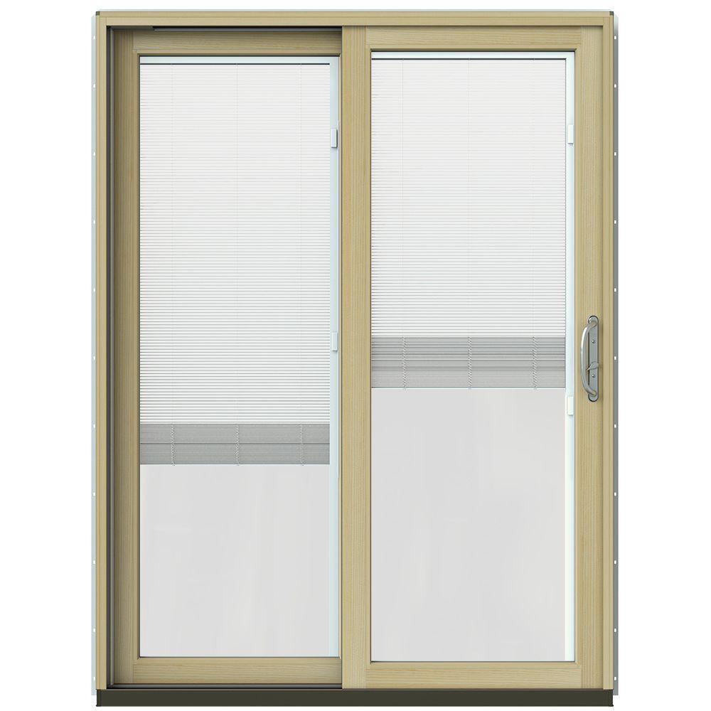 jeld wen 59 1 4 in x 79 1 2 in w 2500 black prehung left hand clad wood sliding patio door. Black Bedroom Furniture Sets. Home Design Ideas
