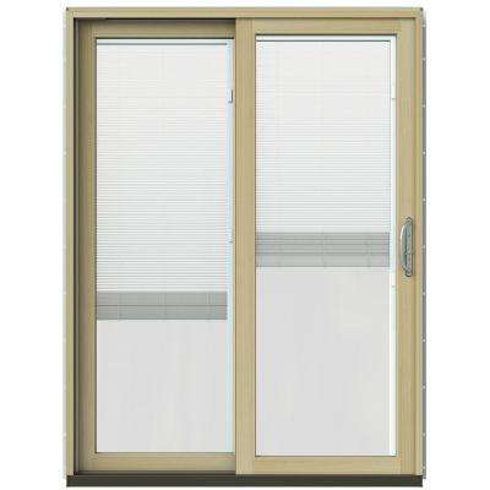 59-1/4 in. x 79-1/2 in. W-2500 Black Prehung Left-Hand Clad-Wood Sliding Patio Door with Blinds