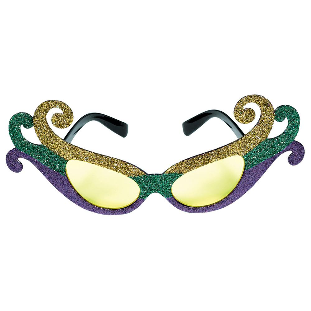 Green, Purple and Gold Plastic Glitter Fleur de Lis Mardi Gras Sunglasses (2-Pack) You'll be prepared no matter how bright your Mardi Gras party gets with these glittery and colorful Fleur de Lis sunshades. The future of your Mardi Gras party is so bright, you'll need to wear shades. Fleur de Lis sunshades come in multi-colored gold, green and purple glittery fun.