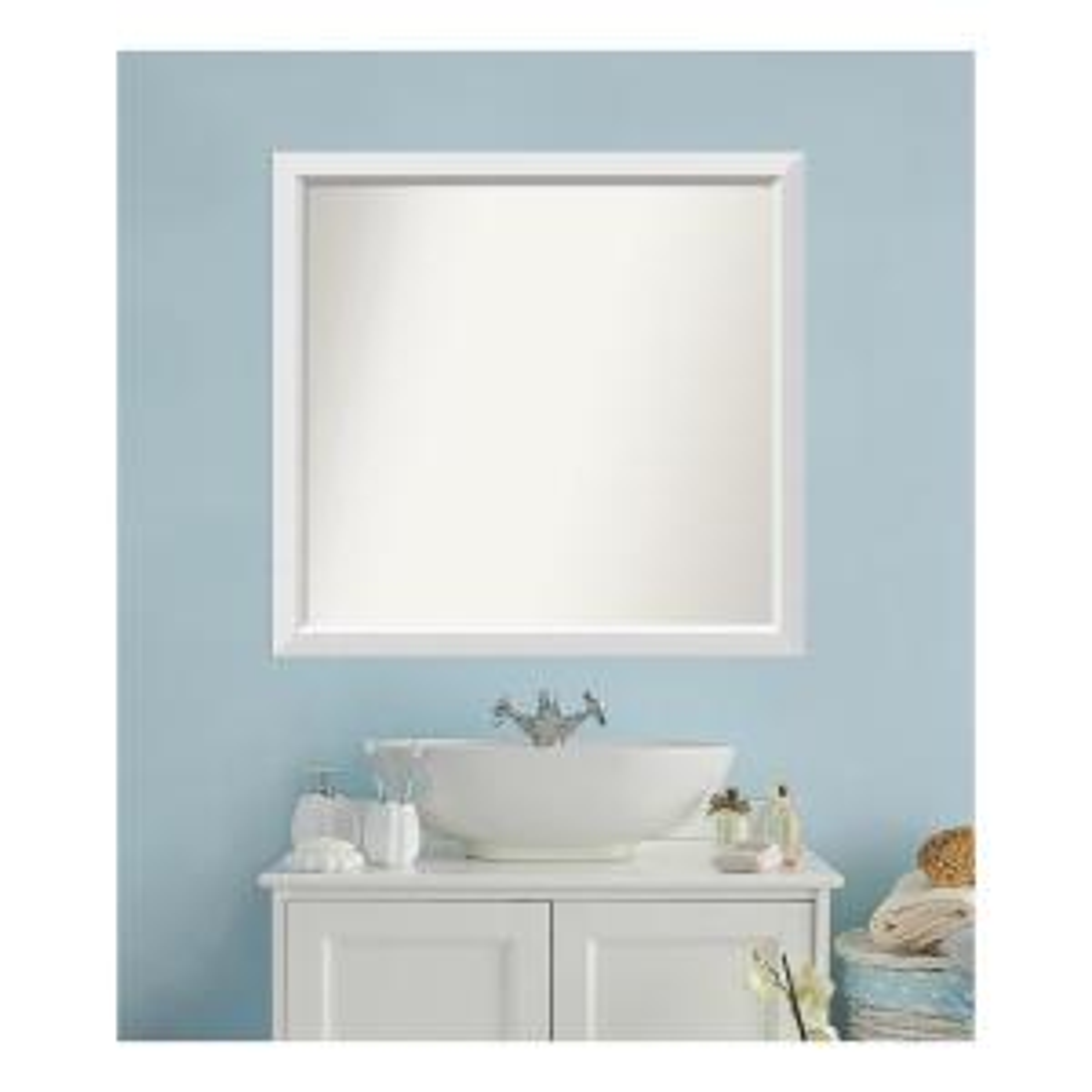 Medium Rectangle White Modern Mirror (36 in. H x 38 in. W)