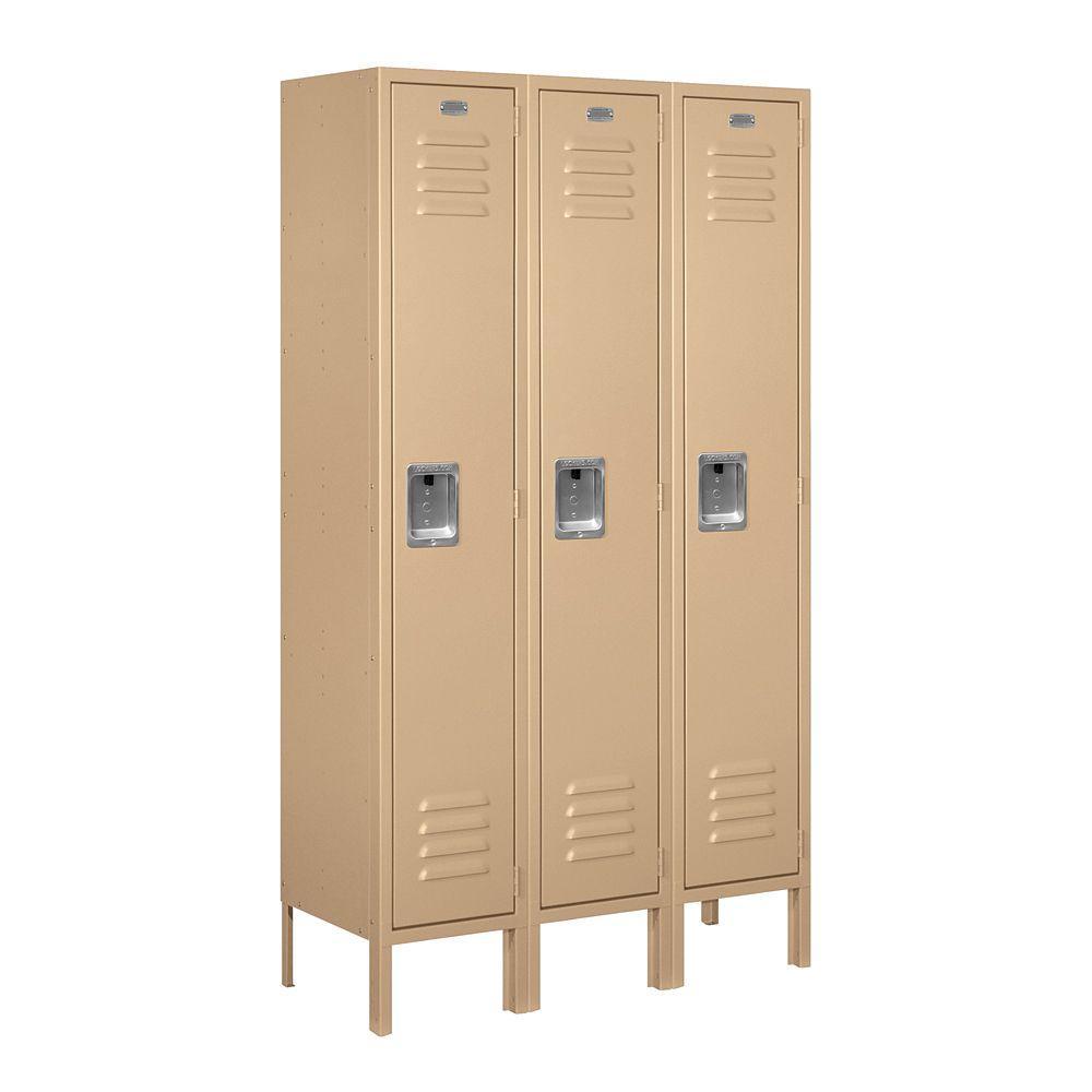 61000 Series 36 in. W x 66 in. H x 12 in. D Single Tier Metal Locker Unassembled in Tan