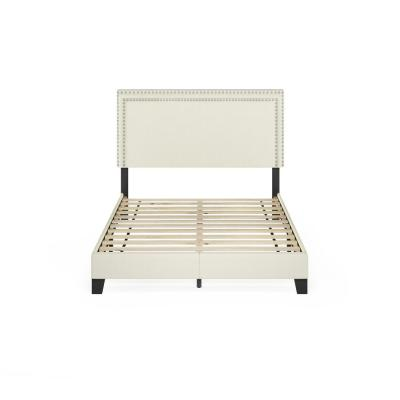 Laval Linen Full Double Row Nail Head Bed Frame