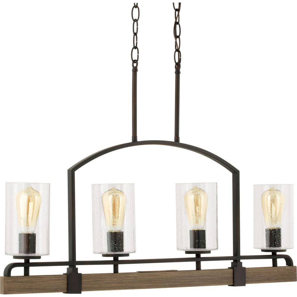 Progress Lighting Grove 4 Light Vintage Bronze Linear Chandelier With Shade