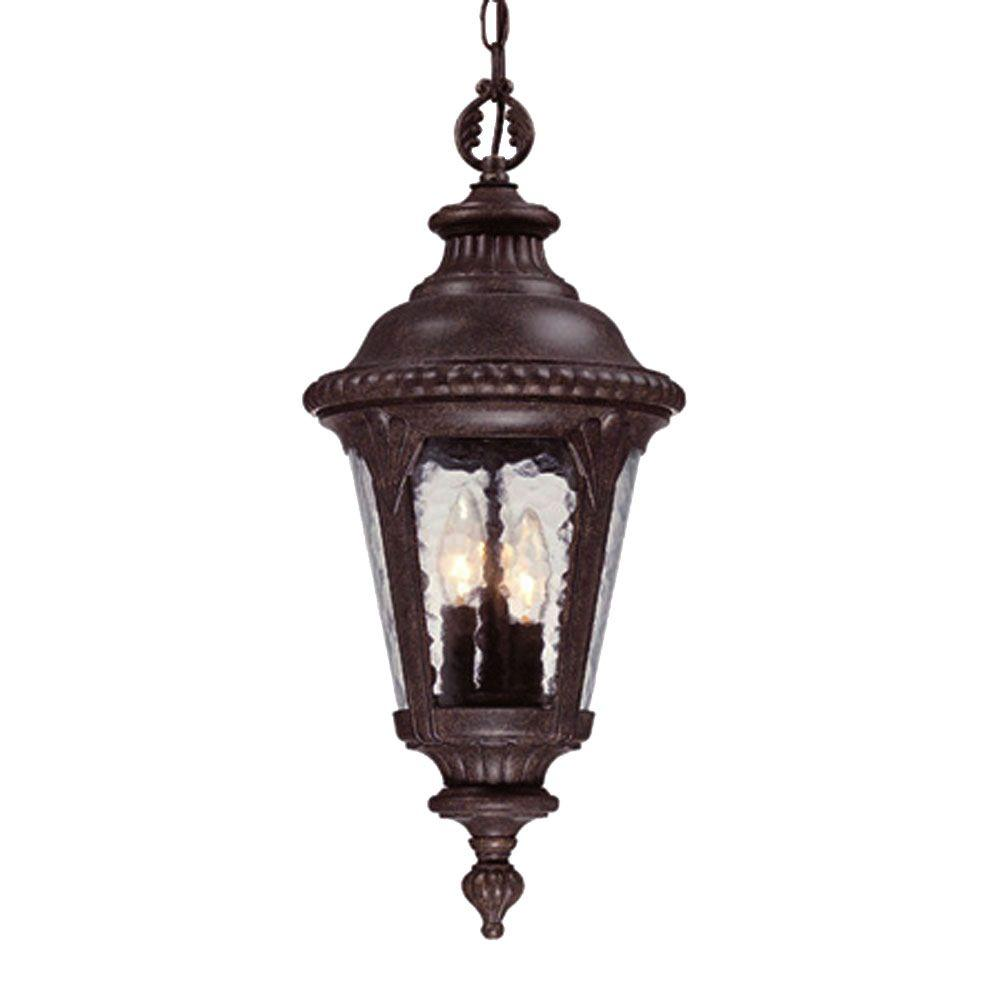 Surrey Collection Hanging Outdoor 3-Light Black Coral Light Fixture