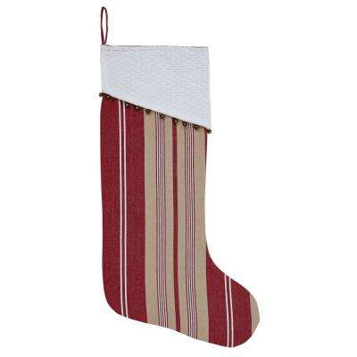 20 in. Cotton Vintage Stripe Candy Apple Red Farmhouse Christmas Decor Stocking