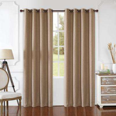 Odyssey 126 in. L x 52 in. W Blackout Polyester Curtain in Beige