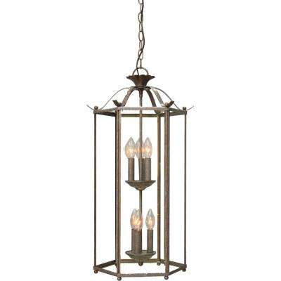 6-Light Interior/Indoor Prairie Rock Hanging Chandelier with Clear Glass Panes/Cage