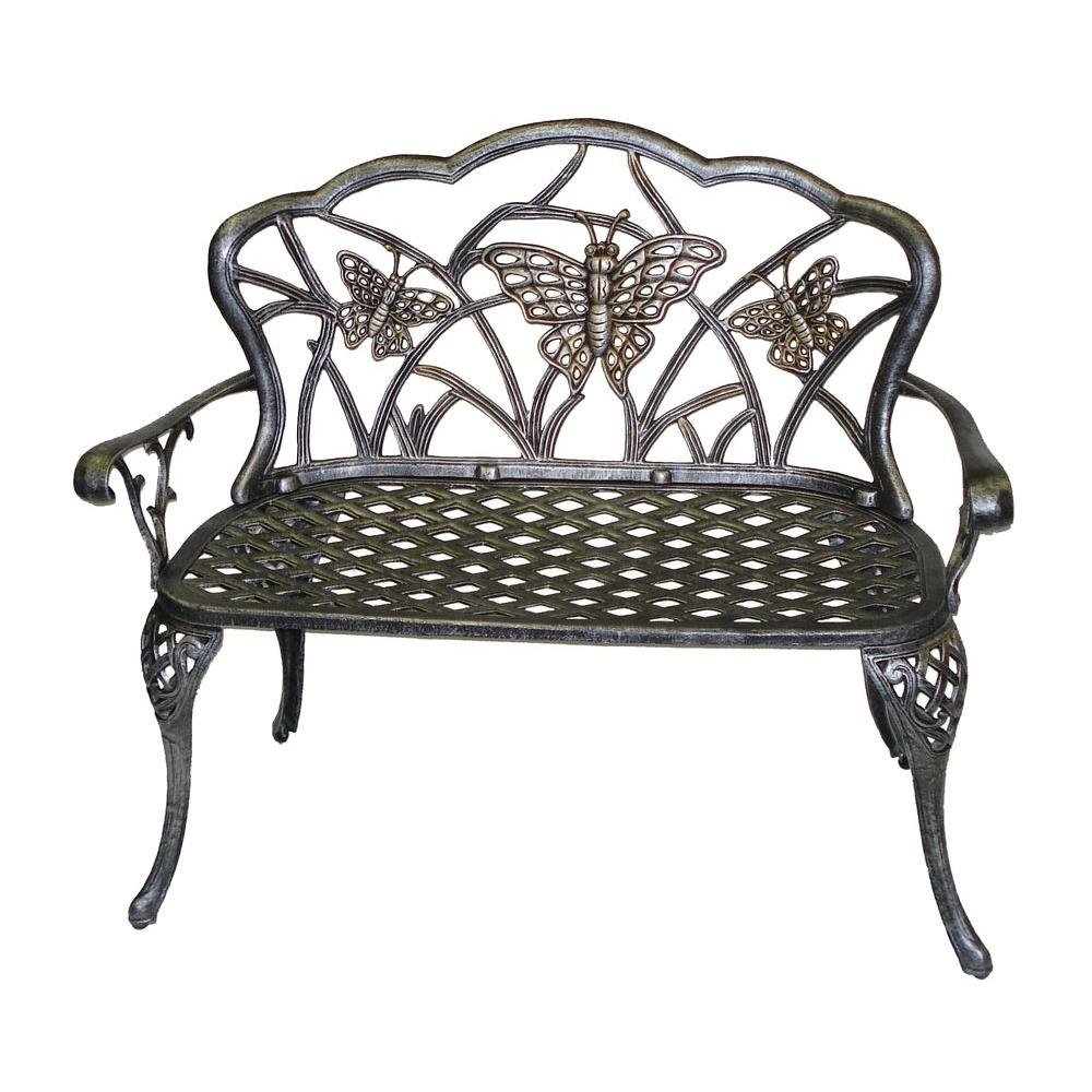 Oakland Living Butterfly Loveseat Patio Bench In Antique Pewter