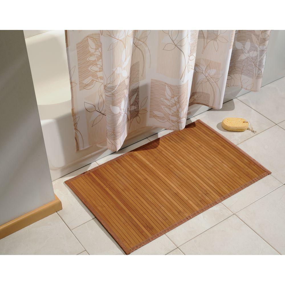 "21/"" x 34/"" Non-sliding Waterproof Bamboo Floor Mat Natural"