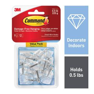 Small Clear Wire Hooks with Clear Strips (9-Pack)