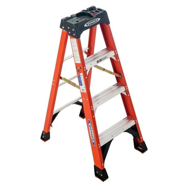 4 ft. Fiberglass Step Ladder with 300 lb. Load Capacity Type IA Duty Rating
