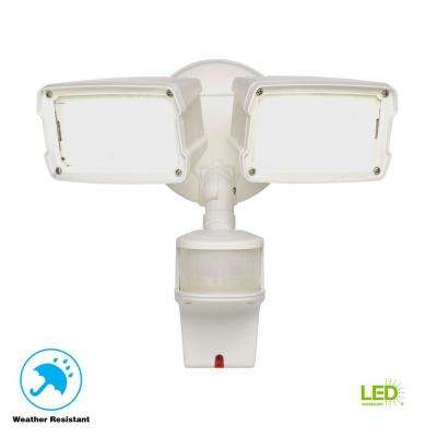 180-Degree White Motion Activated Sensor Twin-Head Outdoor Integrated LED Security Flood Light with Doppler Radar