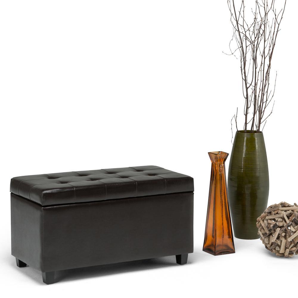 Simpli Home Cosmopolitan Tanners Brown Storage Bench