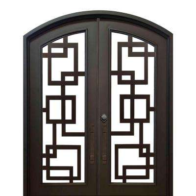 74 in. x 82 in. Eyebrow St. Andrews Dark Bronze Full Lite Painted Wrought Iron Prehung Front Door (Hardware Included)