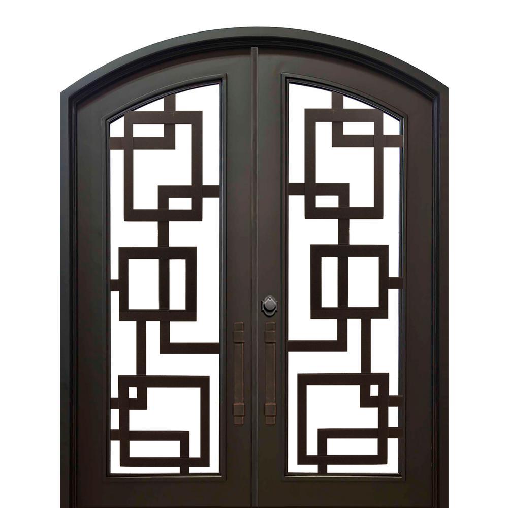 74 in. x 82 in. Eyebrow St. Andrews Dark Bronze Full Lite Painted  sc 1 st  Home Depot & T-Astragal - Exterior Prehung - Double Door - Front Doors - Exterior ...