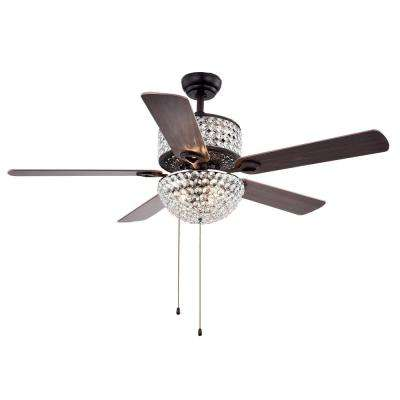 Laure Crystal 52 in. Indoor Incandescent Brown Ceiling Fan