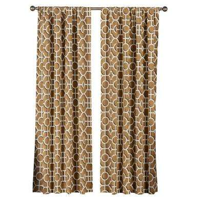 Semi-Opaque Lenox 100% Cotton Extra Wide 84 in. L Rod Pocket Curtain Panel Pair, Rust (Set of 2)