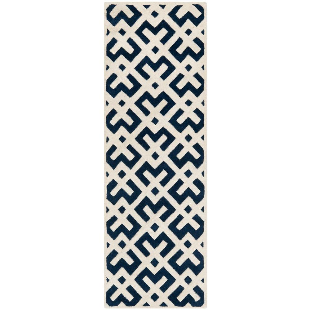 Chatham Dark Blue/Ivory 2 ft. 3 in. x 9 ft. Runner