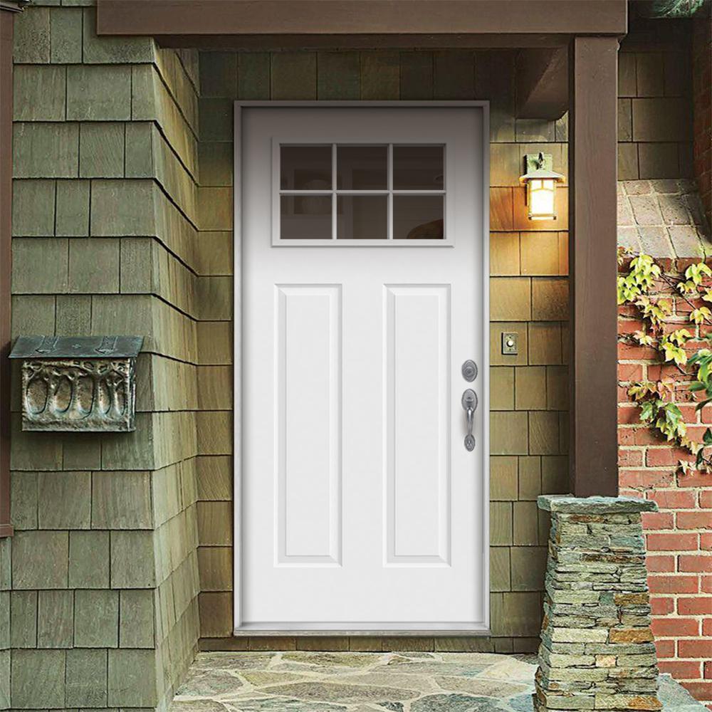 30 in. x 80 in. 6 Lite Craftsman Primed Steel Prehung Left-Hand Inswing Front Door