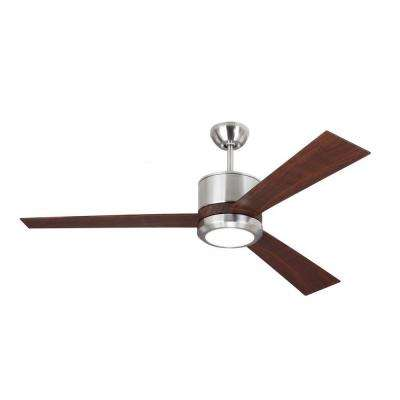 Vision 52 in. Brushed Steel Ceiling Fan with Teak