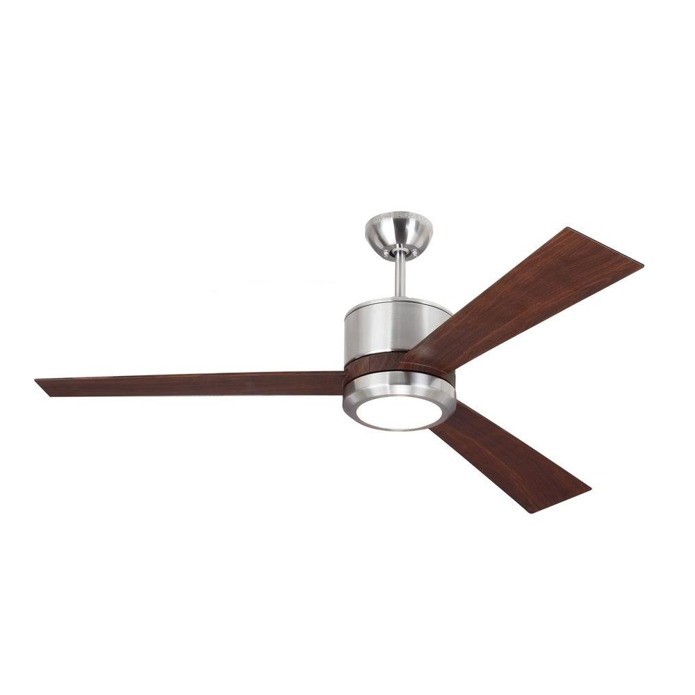 Monte Carlo Vision 52 in. Brushed Steel Ceiling Fan with Teak ... for Ceiling Fan Bottom View  300lyp