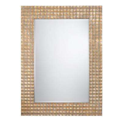 60 in. x 44 in. Rectangular Iridescent Wood Frame Wall Mirror