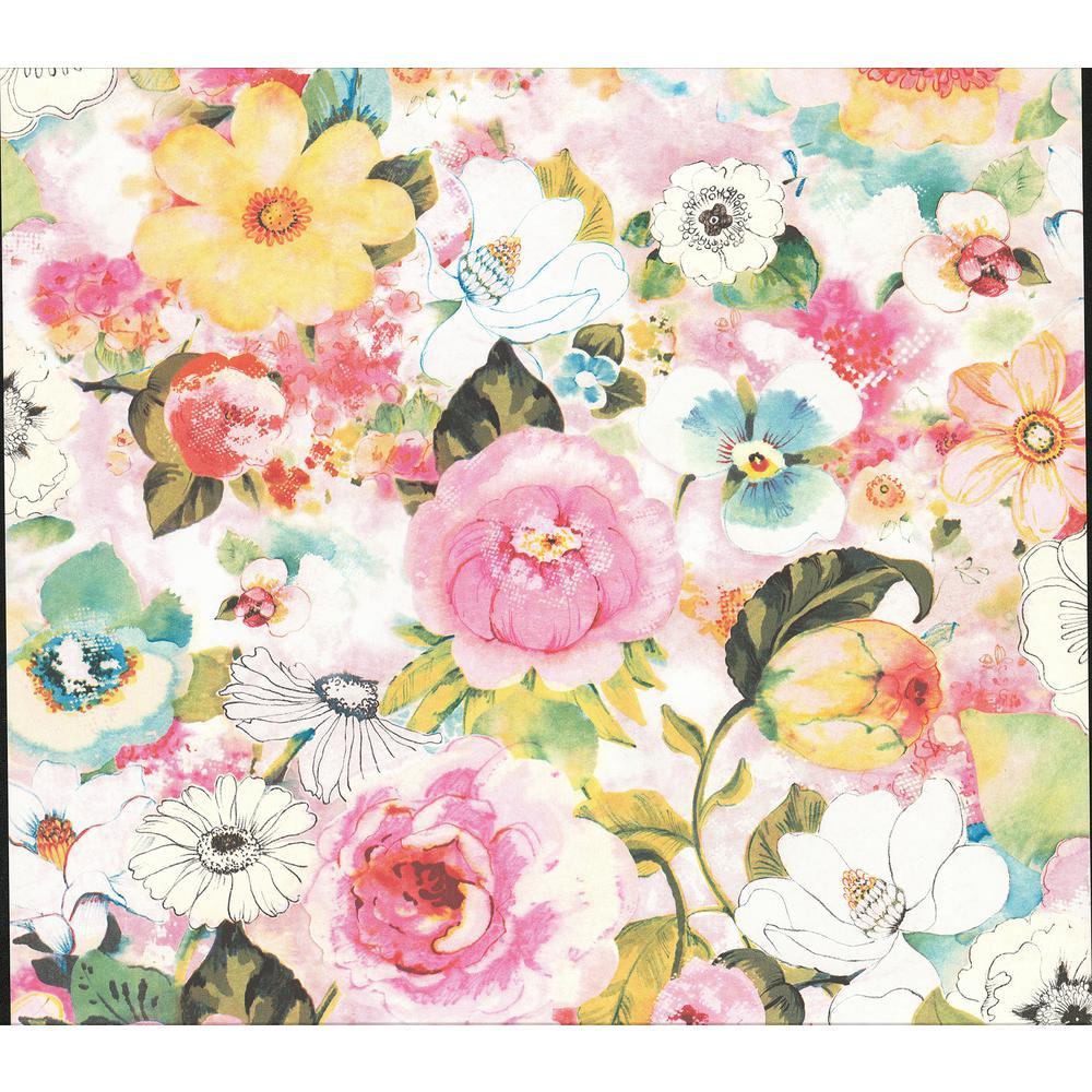 Baldwin Multicolor Watercolor Floral Wallpaper